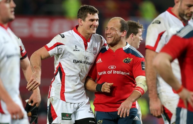 BJ Botha and Robbie Diack share a joke after the game