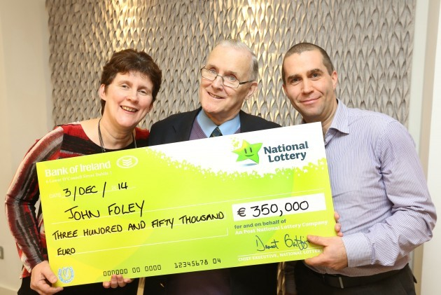 John Foley 77 from Williamstown Co Galway collected a cheque for €350000 at National Lottery offices in Dublin today 002(1)