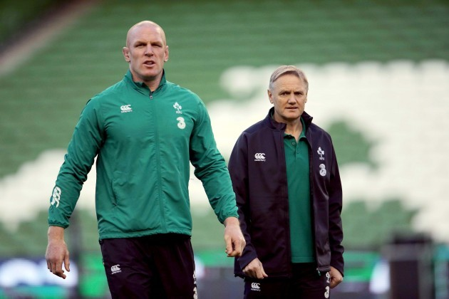 Paul O'Connell and Joe Schmidt before the game