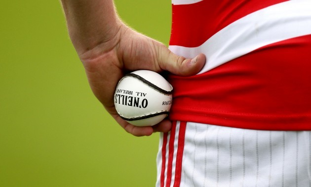 General view of a sliotar and Cork hurling