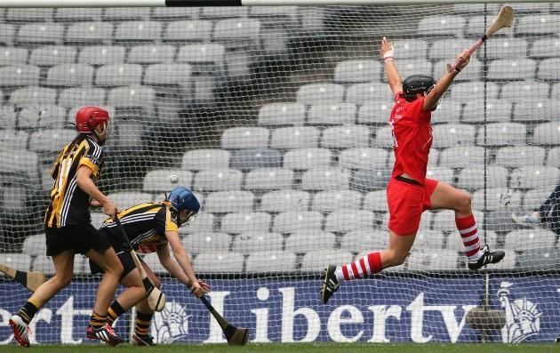Angela Walsh celebrates after scoring a goal