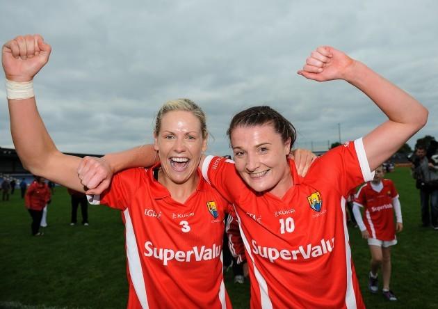 Angela Walsh and Annie Walsh celebrate