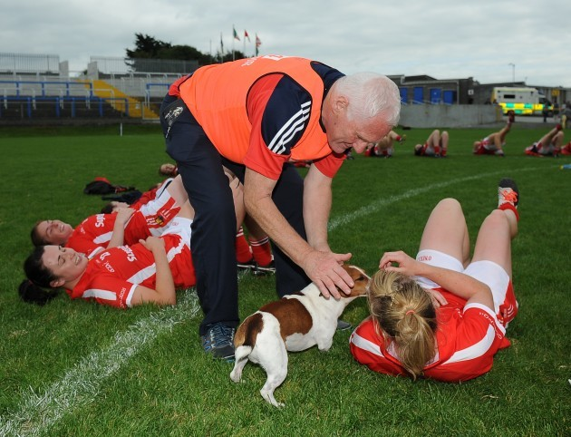 Eamonn Ryan and captain Briege Corkery with her dog Hernandez