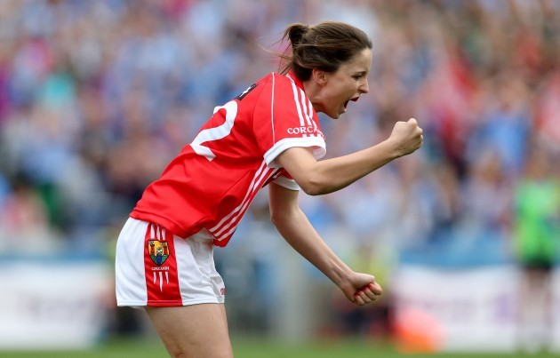 Eimear Scally celebrates scoring their second goal late in the game