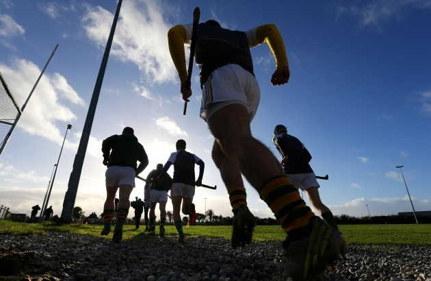 Kilcormac/Killoughey players run out for their warm up