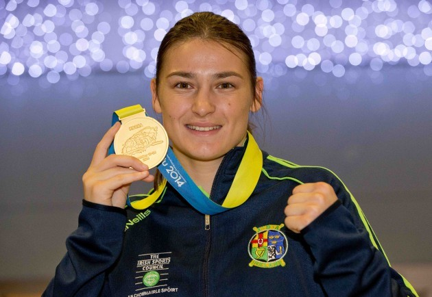 Katie Taylor in Dublin Airport after winning a fifth lightweight title at the AIBA World WomenÕs Elite Championships