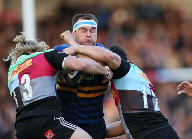 Rhys Ruddock is tackled by Matt Hopper and George Lowe