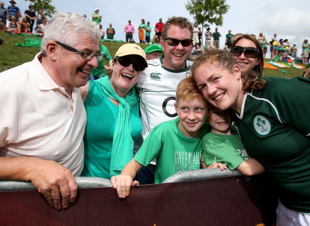Fiona Coghlan celebrates with her family