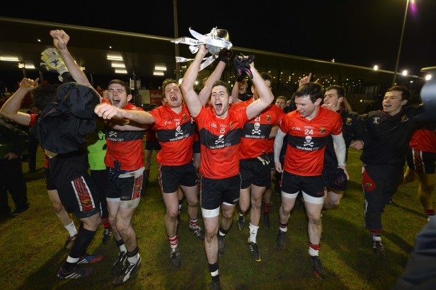 Paul Geaney celebrates with the trophy