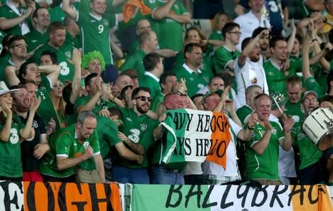 Ireland fans celebrate Aiden McGeady's late goal