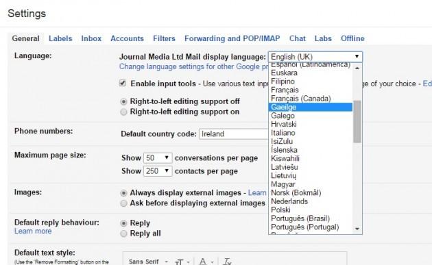 Gmail settings language