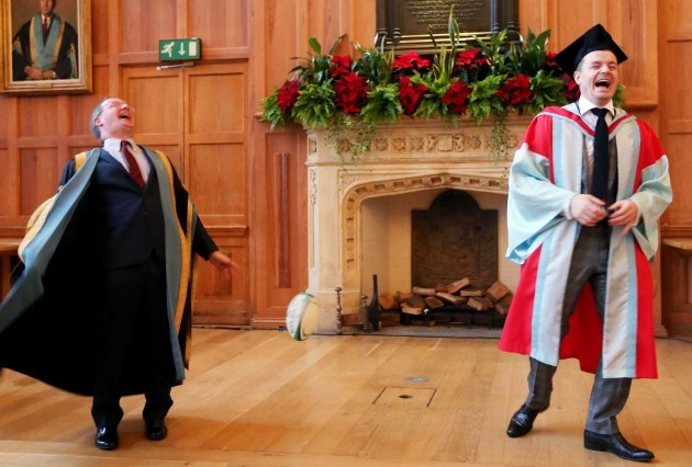 Brian O'Driscoll attends a photocall with Vice Chancellor Paddy Johnston after the ceremony