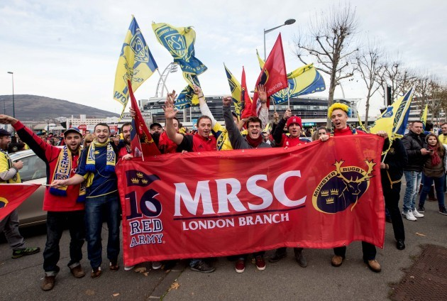 Munster and Clermont fans arrive for the game