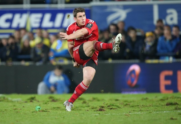 Munster's Ian Keatley kicks a penalty to get the bonus point for Munster