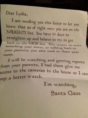 This warning letter from Santa to a naughty kid is genius parenting