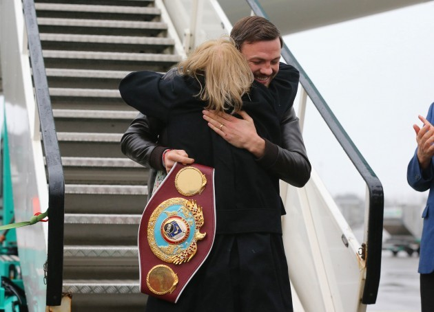 Andy Lee greets his mother Anne