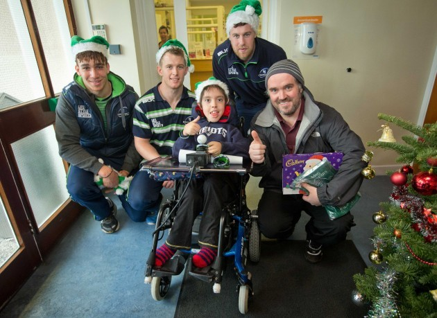 Ultan Dillane, Matt Healy and Willie Faloon with Eoin Kiely and his father John