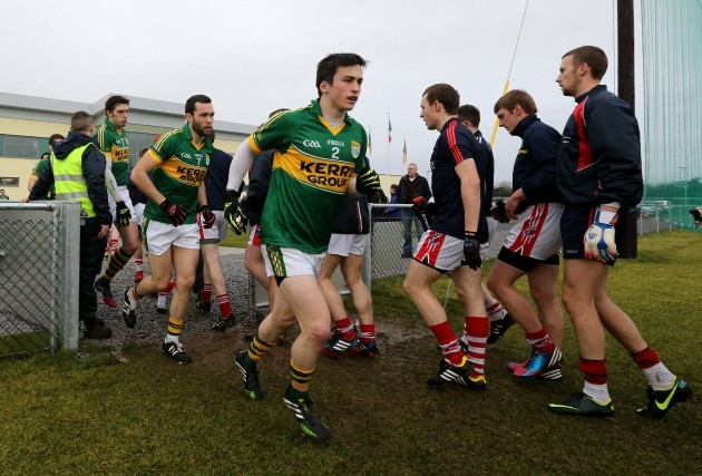 Paul Murphy and the Kerry team make their way onto the pitch