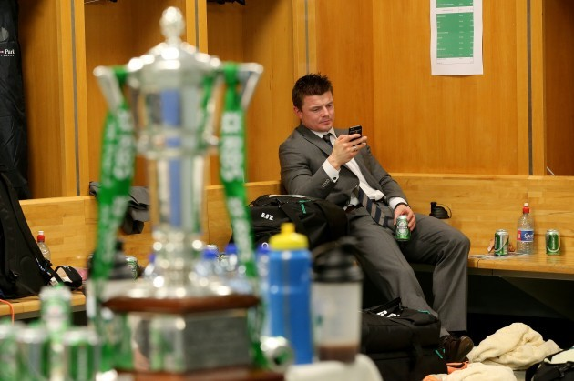 Brian O'Driscoll in the changing room after winning the RBS 6 Nations Championship