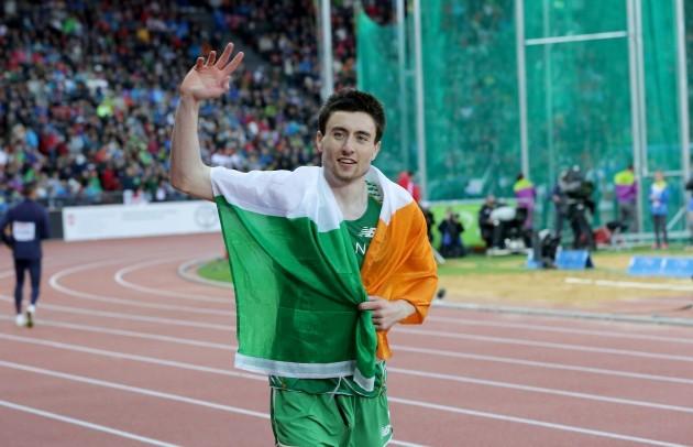 Ireland's Mark English celebrates winning bronze in the Men's 800m Final
