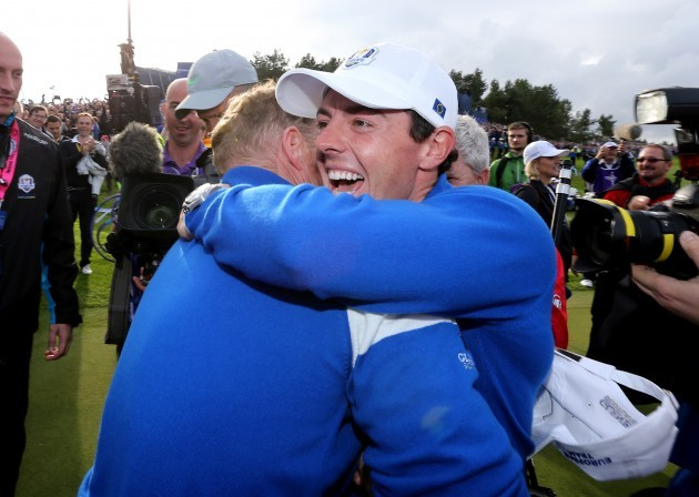 Jamie Donaldson and Rory McIlroy celebrate