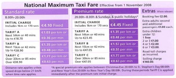 taxi fares current