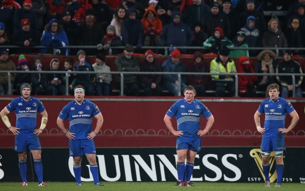 LeinsterÕs Shane Jennings Michael Bent Tadhg Furlong and Jordi Murphy  26/12//2014