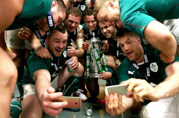 The Ireland celebrate winning the RBS 6 Nations Championship in the dressing room