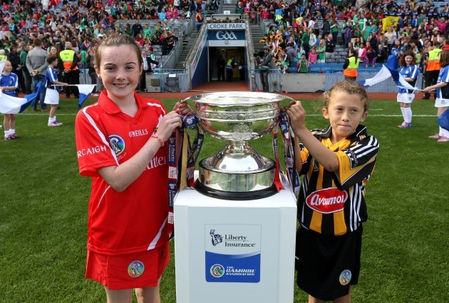 Cork and Kilkenny mascot bring bring out the O'Duffy cup