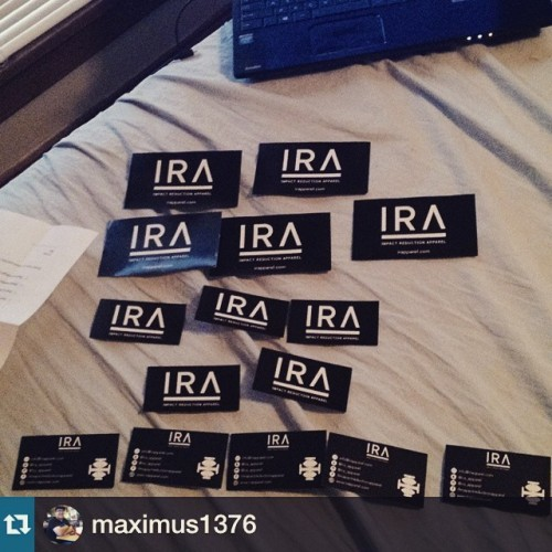 #Repost from @maximus1376 with @repostapp is locked and loaded with sticks! For those of you who have messages us earlier this week the majority of you have been added to our mailing list and we will get some stickers out next week! Also, some Street Team members have asked about getting to the next level! We are reviewing all posts and will be notifying those who have gone on to the next level and get them dialed. Thanks everyone and enjoy the holidays with friends and family! #IRA #cushionyourdome #aspringonehateus #IRAapparel --- #IRAStreetTeam