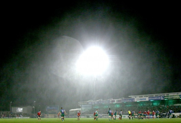 General view of the Sportsgrounds during heavy rain