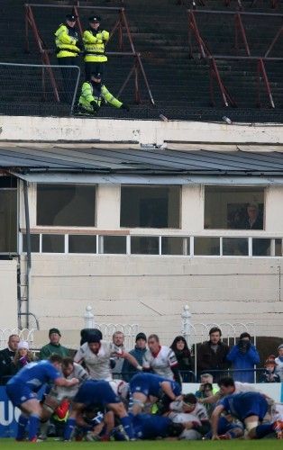 Members of An Garda Siochana look on during a Leinster attack