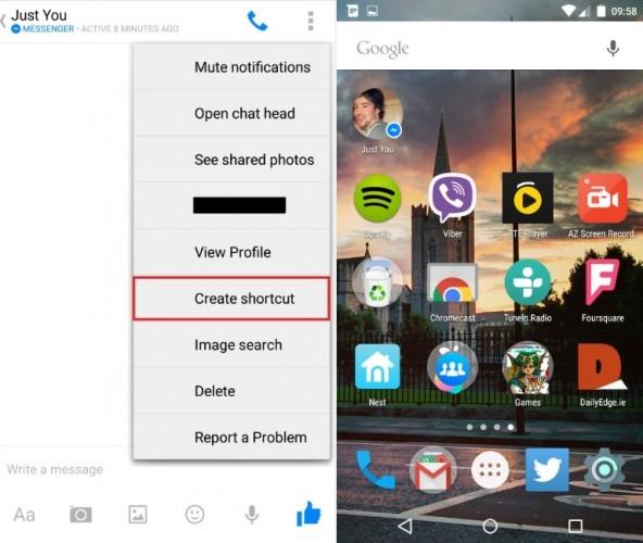Chat Shortcut FB Messenger