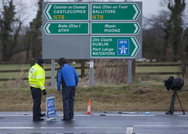 7/12015. Kildare Crash. Gardai and media at the sc