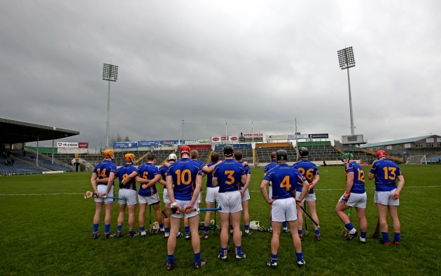 The Tipperary team stand for the National Anthem