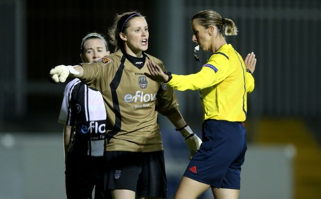 Niamh Reid Burke argues with Referee Eleni Lampardariou