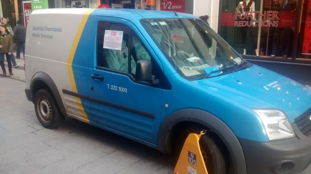 11605543d3 A Dublin City Council van was clamped on Grafton Street today
