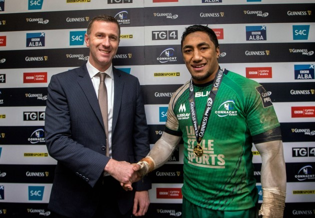 Bundee Aki receives the Man of the Match award