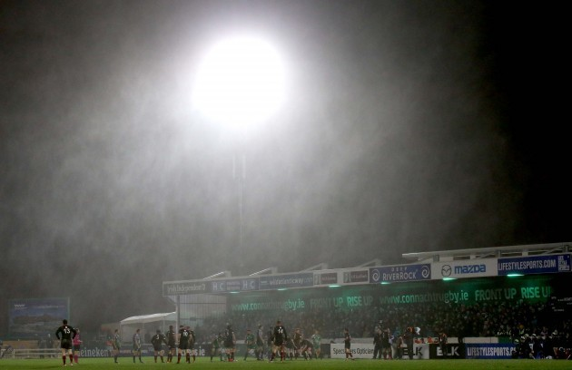 General view of the bad conditions during the game