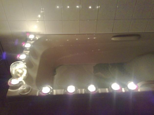 Bath, candles, wine