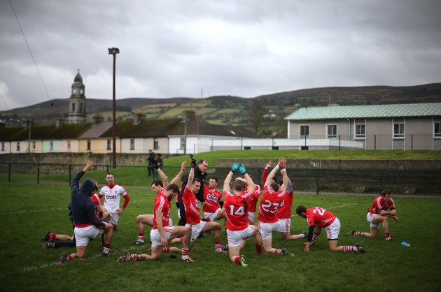 Cork players warm down after the game