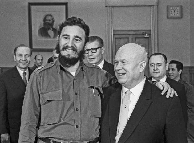 Nikita Khrushchev and Fidel Castro
