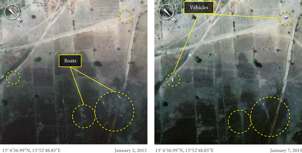 Boats on shore of Lake Chad - before and after