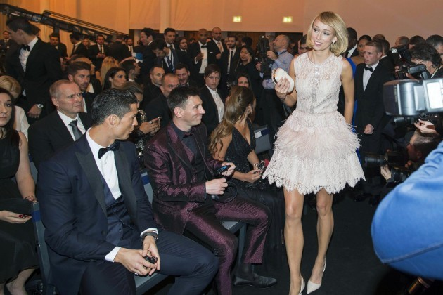 Stephanie Roche with Cristiano Ronaldo and Lionel Messi