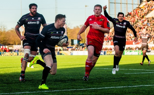 Chris Ashton crosses the line to score his side's third try