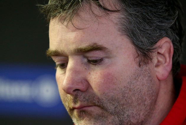 Anthony Foley dejected after the game during the press conference