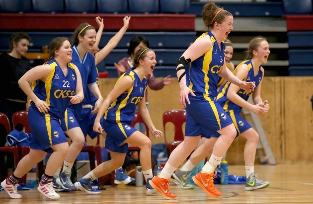 The Christ King Cork team celebrate at the final buzzer