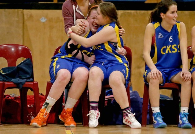 Hannah McCarthy and Nadeena O'Connell celebrate seconds before the final buzzer