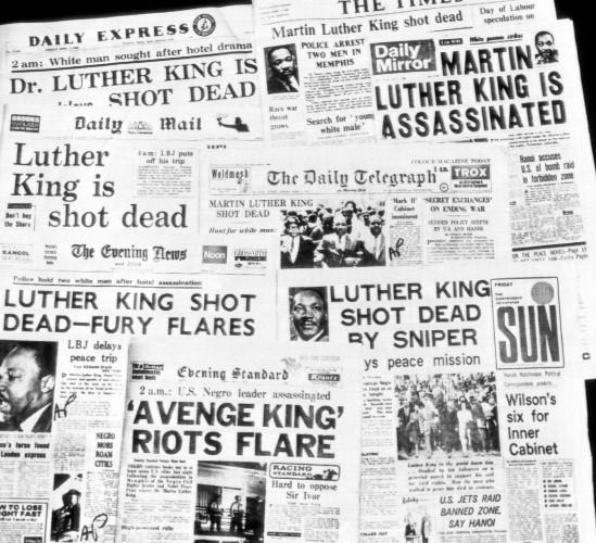 MLK Assassination Headlines 1968