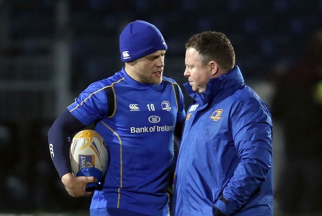 Ian Madigan speaks to Matt O'Connor before the game